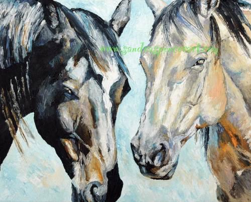horsepairblackgrey16x20