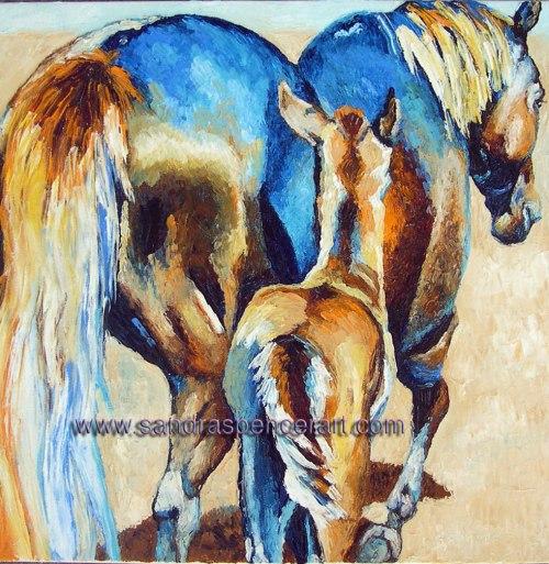 bluegoldhorses18x18